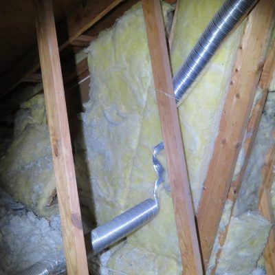 Bathroom exhaust fan is separated allowing the hot moist air entering the freezing attic space