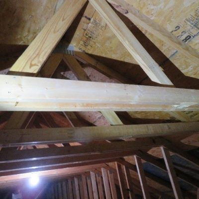 First upon entering the attic, I really liked the great open space for storage, until I realized that someone has cut out 80% of all STRUCTURAL trusses. A results is most likely a completely new roof structure, sheathing and shingles costing at least $50,000.
